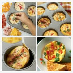Mini Frittata   Ingredients:   *4 large eggs *1/4 cup half-and-half *1/2 teaspoon salt *Assorted mix-ins (shredded cheese, diced vegetables, and cooked bacon, ham, or sausage)   Instructions:   Preheat oven to 350º F. Coat a 6-cup muffin pan with nonstick cooking spray. Whisk eggs, half-and-half, and salt in a medium bowl. Evenly distribute the egg mixture in the muffin cups. Add 2 Tbs of mix-ins to each cup. Bake until frittatas are puffy and the edges are golden brown, 20 to 25 minutes.