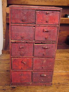 ** ANTIQUE PRIMITIVE 10 DRAWER HARDWARE / APOTHECARY / FILE / SPICE CABINET **