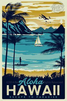 Hawaii Retro Vintage Travel Poster Surf Palm Trees Screen Print