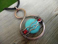 turquoise pendant wire wrapped stone jewelry for womens