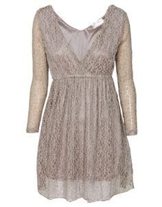Mizumi Sheer Long Sleeve Lace Layered Deep V-Neck Dress in Beige £ 9.95 #chiarafashion