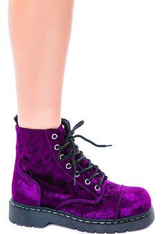 T.U.K Crushed Velvet 7 Eye Boot   Dolls Kill
