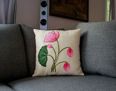 Buy Indian embroidery work cushions online in Norway and Sweden Saree Painting, Lotus Painting, Silk Painting, Diy Cushion Covers, Cushion Cover Designs, Couch Covers, Fabric Painting On Clothes, Fabric Art, Bed Sheet Painting Design