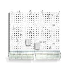Peg Board Set 70 Pc Set White Pegboard Sewing Craft Room Wall Organizer NEW