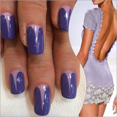 Steli's vee manicure in shades of purple paired with a bootylicious dress by Zang Toi.