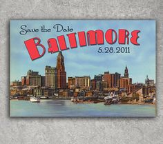 Vintage Baltimore Postcard Save the Date by PowerhousePaper, $1.95