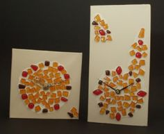Elements collection, clocks mounted on canvas and embellished with glass. Harmony Design, Handmade Clocks, Watercolour Painting, Presents, Studio, Canvas, Glass, Crafts, Collection