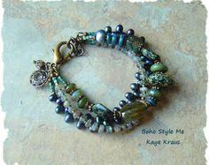 Boho Bracelet Rustic Beaded Bracelet Rocky Ocean by BohoStyleMe