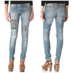 Free People Skinny Baja Patched Indio Wash Jeans Size 25