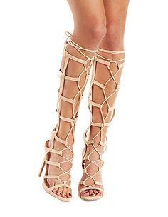 bcb74f5cc9a Qupid Caged Gladiator Dress Sandals  Charlotte Russe