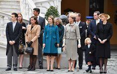 From left to right: Louis Ducruet,Princess Stephanie of Monaco, Princess Alexandra of Hanover,Princess Caroline of Hanover,Sacha Casiraghi,Princess Charlene of Monaco attend the Monaco National Day Celebrations