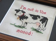 I'm not in the moood Cross stitch framed and by NeedleSewing