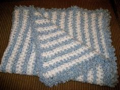 Baby Boy Blue and White Baby Blanket Afghan Handmade Crochet | eBay