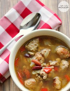 Chicken and Sausage Soup - my first time using beer in a recipe. This soup is divine and it's a slow cooker recipe too!