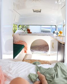 Fabulous caravan bunk beds with a cubby and plenty of space for mum and dad at the other end in the caravan bedroom. Caravan Makeover, Caravan Renovation, Van Conversion Interior, Camper Van Conversion Diy, Caravan Bunk Beds, Caravan Living, Kombi Home, Retro Caravan, Van Home