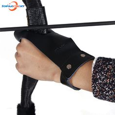 Archery Finger Glove for Outdoor Hunting Shooting Bow Arrows Accessories Black Leather Finger Protector Protection Left Hand #women, #men, #hats, #watches, #belts, #fashion