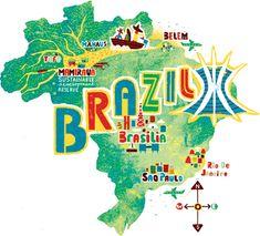 Travel illustrations by Migy Brazil map