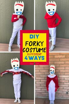 Who is ready to dress up as the zany new character from Toy Story Check out this DIY Forky costume perfect for Halloween or as a disneybound in the parks. There is a tutorial for creating your own Forky mask and 4 different ways to make Forky's red pipe Handmade Halloween Costumes, Disney Halloween Costumes, Halloween Kostüm, Diy Kids Costumes, Halloween Birthday, Costume Ideas, Toy Story Kostüm, Toy Story Party, Cumple Toy Story