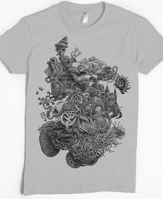 Marea piscina camiseta - extraño arte camiseta - camiseta surrealista del arte - surrealismo - océano - cosas raras - única extraña camisa de las mujeres - Cool