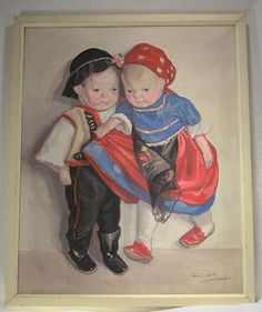 Vintage Painting of Kathe Kruse Dolls by Hungarian Artist Lolly Feher c1950 1960 | eBay