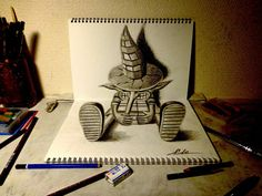 Addictive: Impressive drawings made with pencil and paper. - Addictive: Impressive drawings made with pencil and paper. 3d Pencil Drawings, 3d Art Drawing, Painting & Drawing, Amazing Drawings, Amazing Art, Amazing Sketches, 3 D, 3d Paper Art, 3d Figures