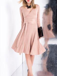 Shop Mini Dresses - Khaki A-line Casual V Neck Mini Dress online. Discover unique designers fashion at StyleWe.com.