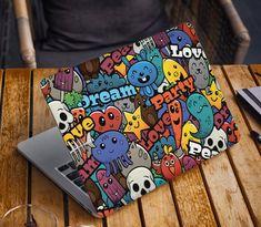 Cartoons Laptop Skin Sticker Cute Notebook Vinyl Decal Dell Hp   Etsy Custom Laptop Stickers, Macbook Stickers, Asus Laptop, Laptop Decal, Macbook Skin, Laptop Skin, Dream Party, Cute Notebooks, Chromebook
