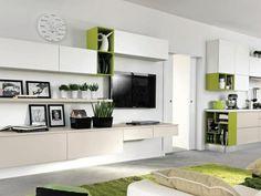 grüne Wandregale moderne Wohnwand Küche eingebaut
