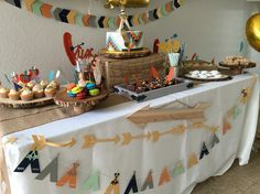 Pow Wow tribal birthday party table setup