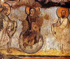 Christ Enthroned between Sts. Peter and Paul, IV BCE. Catacombe di Commodilla, Roma. Culture roman christian