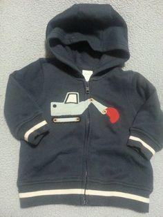 Gymboree LIL DIRT MAGNET Excavator Hoodie Jacket 6-12 mos EUC #Gymboree #Jacket