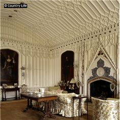 The drawing room at Arbury Hall. Its chimneypiece was modelled on Aymer de Valence's tomb in Westminster Abbey.