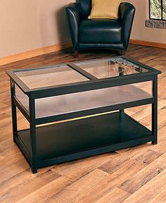 COFFEE TABLE Glass Top Display Table Lift Storage Rectangle Cocktail Table