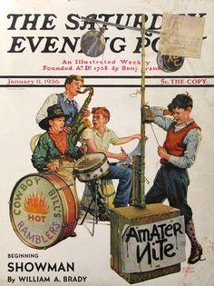 "1936 ""Amateur Nite"" - Cowboy Bill's Hot Ramblers - Monte Crews Art - Saturday Evening Post Cover Art - 1930s Teenage Boys - High School Band"