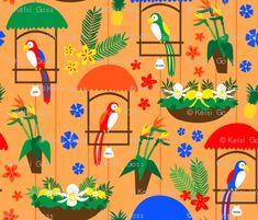 Tiki Room Birds - Smaller custom fabric by moderntikilounge for sale on Spoonflower Tiki Room Disney, Disney Birds, Disney Enchanted, Tiki Decor, Disney Paintings, Fabric Birds, Bird Patterns, Valentine Day Crafts, Custom Fabric