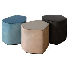 "Leather stools by Nestor Perkal Measures: Small W 17.71"" x D 15.35"" x H 15.75"" W 45 cm x D 39 cm x H 40 cm Medium: W 32.68"" x D 29.72"" x H 13.78"" W 83 cm x D 75.5 cm x H 35 cm Large: W 39.76"" x D 33.46"" x H 13.78"" W 101 cm x D 85 cm x H 35 cm Enameled stoneware in three different colors, genuine Italian vegetable-tanned leather, colors as per available range, lace in natural color. Handmade in Pesaro, Italy Genuine Italian vegetable-tanned leather; colors as per available range…"