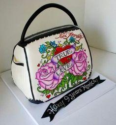 Hand painted Ed Hardy purse cake with dark chocolate handle and trim fb3f04ccaadaa