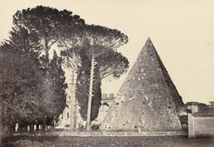Pyramid of Caius Cestius and the English burying ground, Rome. 1850s.