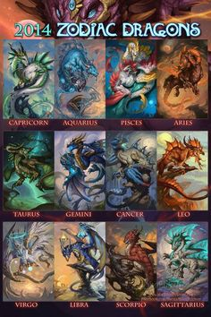 The Zodiac Dragons! Which one is your zodiac sign? There are only about 200 of the 2014 Zodiac Dragons calendars left! The 2014 Zodiac Dragons Zodiac Star Signs, My Zodiac Sign, Zodiac Signs Animals, Zodiac Funny, Pokemon, Dragon Zodiac, Capricorn And Aquarius, Sagittarius Astrology, Astrology Signs