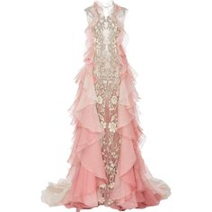 Marchesa Ombré Gown With Organza Layers ($10,995) ❤ liked on Polyvore featuring dresses, gowns, gown, floral print gown, ombre dress, pink floral dress, pink evening gowns и pink ombre dress