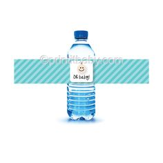 Printable Teal Baby Face Water Bottle Labels for a baby shower! #printitbaby.com