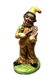 OOAK Ceramic Clown Figurine Playing the Violin with Hair, Scarf, 3D Gold Chain Pierrot Clown, Makers Mark, Violin, Gold Chains, Samurai, Ceramics, 3d, Play, Hair