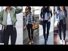 Jeans negro outfit : look de moda 2018 - YouTube