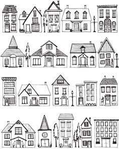 free houses coloring page and printable casas gratis para colorear e imprimir House Colouring Pages, Adult Coloring Pages, Coloring Books, Doodle Drawings, Doodle Art, Doodle Sketch, Stylo Art, House Doodle, House Illustration