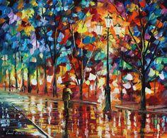 Leonid Afremov The alone umbrella man Art Print for sale - CanvasPrintsHere.com
