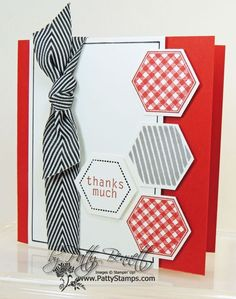 hand crafted thank you notecard .. hexagons on a 4x4  ... red, black, white ... luv how the hexagons form the pattern with the sentiment ... Stampin' Up!