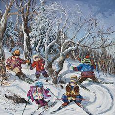 The last run  www.paulinepaquin.com Canadian Winter, Canadian Art, Winter Art, Cinque Terre, Childhood Memories, Original Paintings, Images, Quebec, Ski