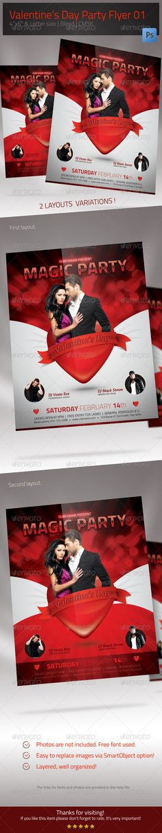 Valentines Day Party FlyerThis Valentines Day party Flyer Template is what you need to promote Valentines Day themed events innightclubs, bars, collegesand universities.Package contains 2 layouts variationsand for each of them 2 PSD files size: 8.511 inches and 46 inches (  0,25 inches bleed). Youll receive editable PSD files, which are organized a
