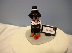 Rottweiler dog wedding cake topper rottie figurine by PawsnClaws