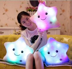 Cheap body pillow, Buy Quality colored body pillows directly from China pillow cushion Suppliers: Colorful Body Pillow Star Glow LED Luminous Light Pillow Cushion Soft Relax Gift Smile 5 Colors Body Pillows Hot Cute Pillows, Kids Pillows, Colorful Pillows, Throw Pillows, Christmas Pillow, Christmas Toys, Christmas Birthday, Star Cushion, Cushion Pillow